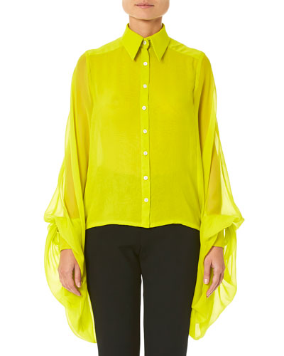 Wing-Sleeve Button-Front Blouse