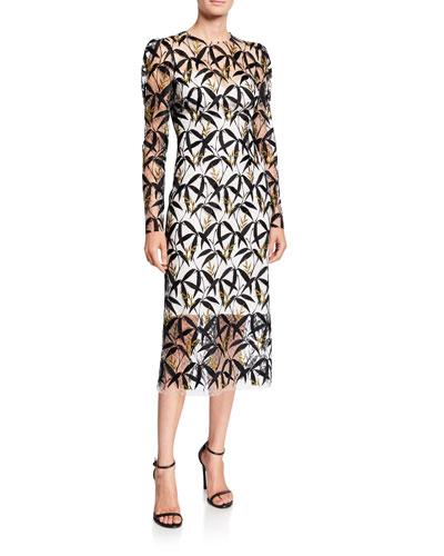 Metallic Leaf Lace Illusion Dress