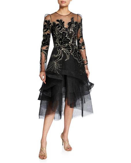 Monique Lhuillier Floral Velvet Embroidered Tulle Dress