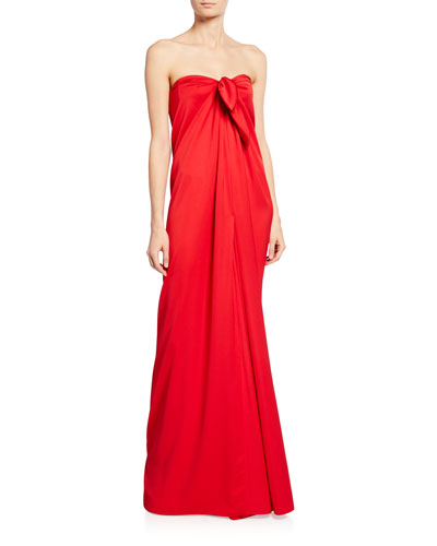Crepe Satin Strapless Tie Gown