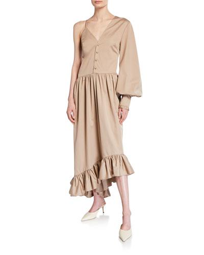 Mixed-Seeve Asymmetric Ruffle Dress