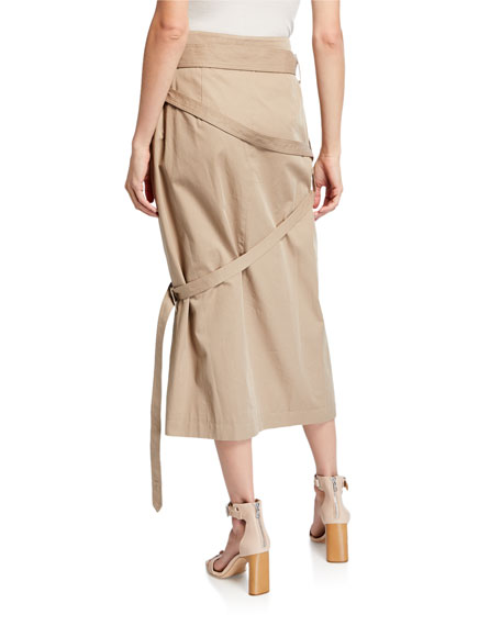 Wrapped Belted Trench Skirt