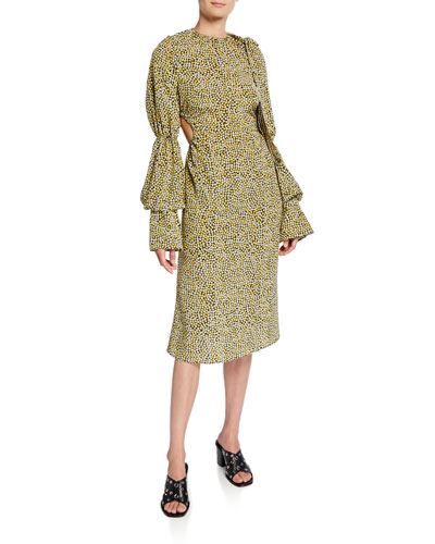 High-Neck Gathered-Sleeve Dress