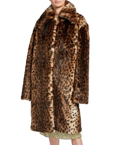 Leopard-Print Faux-Fur Oversized Coat