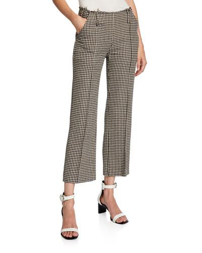 Herringbone Wool Raw-Waist Crop Trousers