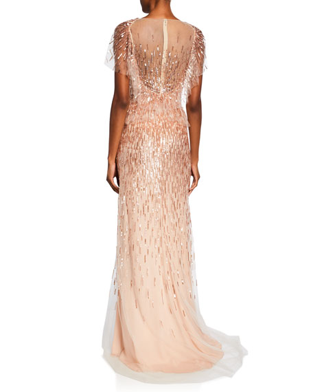 Embroidered Fluter-Sleeve Gown