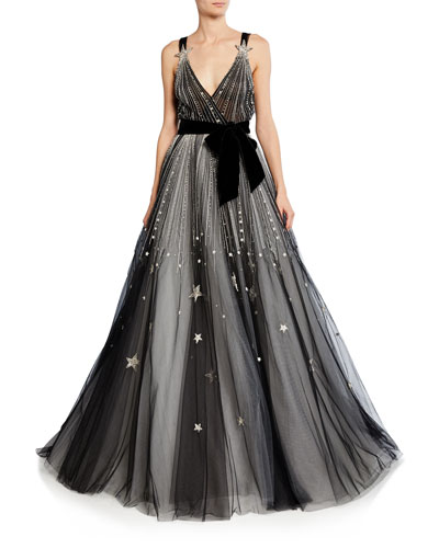 Star-Embroidered V-Neck Ball Gown