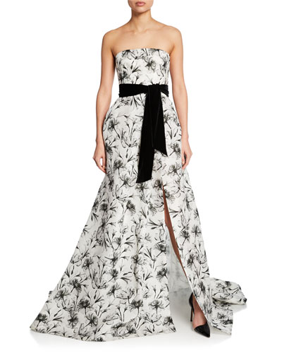 7c76123d803 Floral Gazar Strapless Gown Quick Look. Monique Lhuillier