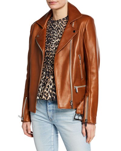 Lace-Up Leather Biker Jacket