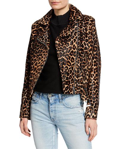 Daphne Leopard-Print Moto Jacket