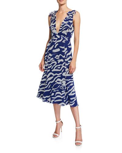 Tiger-Print Sleeveless Silk Tie-Shoulder Midi Dress