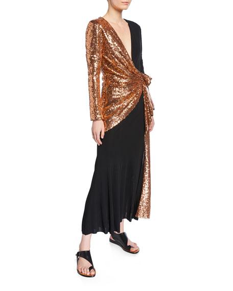 Prabal Gurung Tie-Neck Copper Sequined-Waist Dress