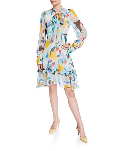 Mutli-Floral Tie-Neck Dress
