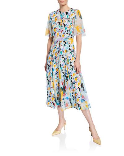 Flutter-Sleeve Floral-Print Chiffon Button-Front Dress