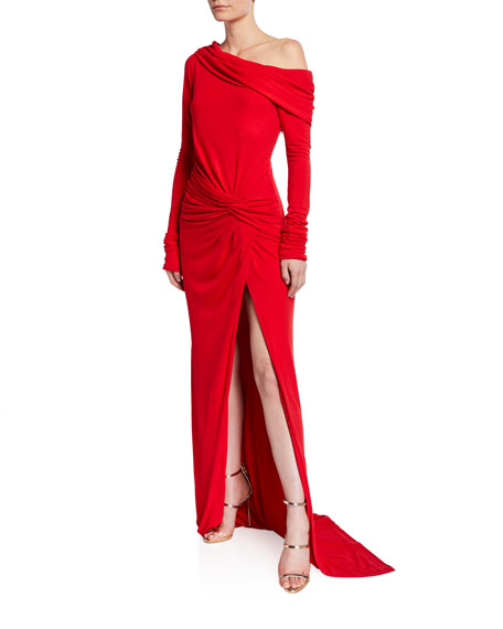 Prabal Gurung Off-the-Shoulder Twisted Waist Gown