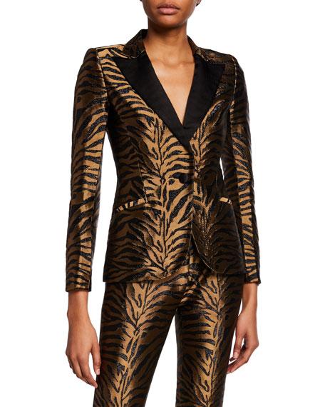Prabal Gurung Golden Tiger-Jacquard Tuxedo Blazer