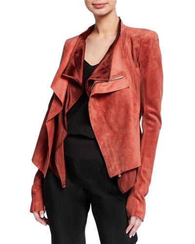 Leather Low-Neck Biker Jacket
