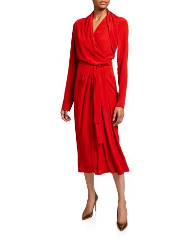 Cocoon Crepe Long-Sleeve Wrap Dress