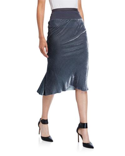 Velvet Knee-Length Skirt