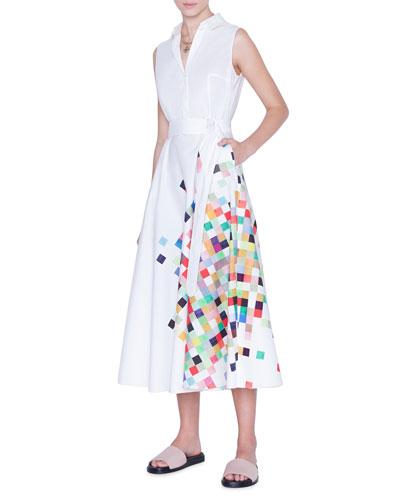 Sleeveless Pixel-Print Belted Shirtdress