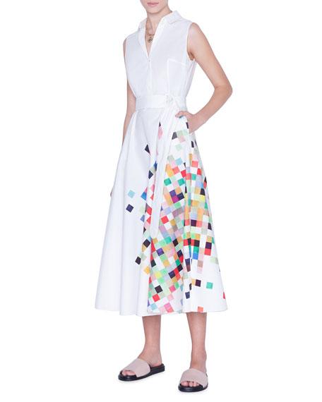 Akris punto Sleeveless Pixel-Print Belted Shirtdress