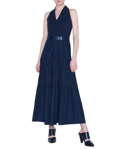 7c824bce35 Belted Tiered-Poplin Maxi Dress Quick Look. Akris punto