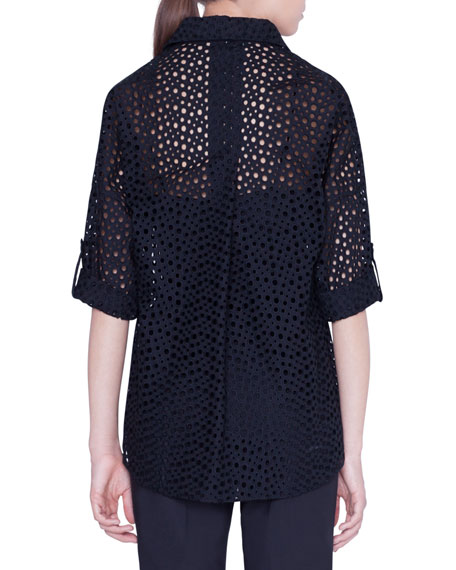 Dotted Lace 3/4-Sleeve Popover Blouse
