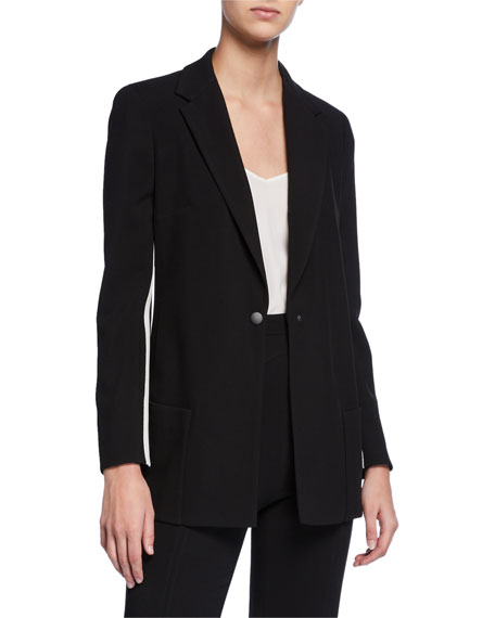 Track-striped Wool Blazer