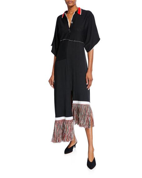 Fringe-Hem Empire Waist Asymmetric Shirtdress