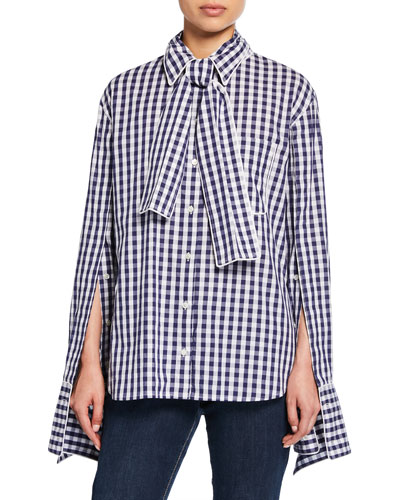 Long-Sleeve Scarf-Neck Gingham Top