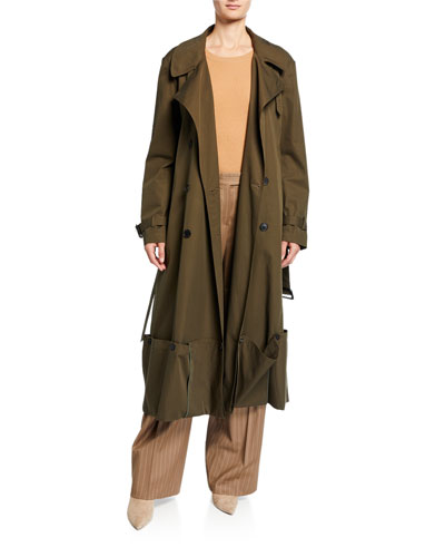 Double-Breasted Folded Hem Coat