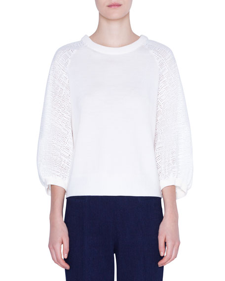 Akris punto Full-Sleeve Gridded-Lace Trim Sweater