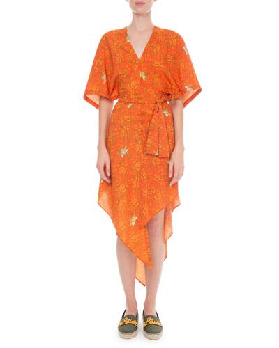 x Paula's Ibiza  Short-Sleeve Asymmetric Dress