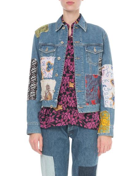 x Paula's Ibiza Patchwork Denim Jacket