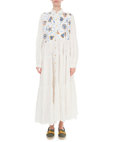 Loewe Dresses X PAULA'S IBIZA STRIPED PRINTED-YOKE SHIRTDRESS