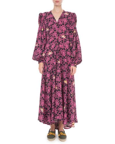 x Paula's Ibiza Floral Print Peasant Shirtdress