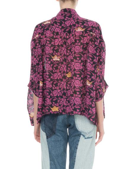 x Paula's Ibiza Floral Print Button-Front Blouse