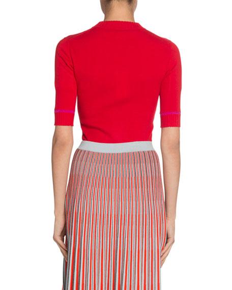 Silk-Cashmere 1/2-Sleeve Sweater