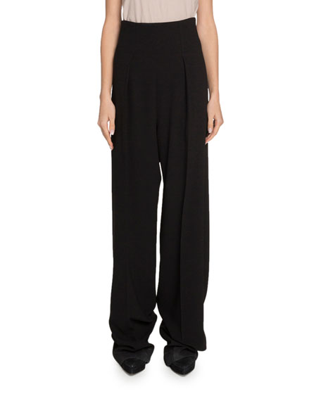 High-Rise Textured Crepe Pants