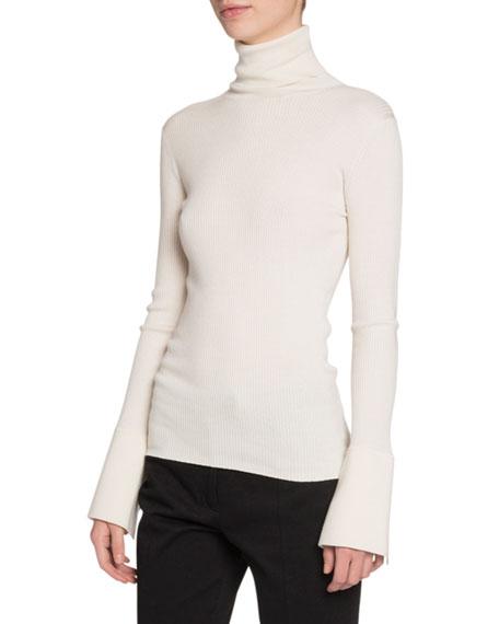 Silk-Cashmere Flare-Sleeve Turtleneck Sweater