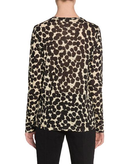 Speckle-Print Long-Sleeve Crewneck T-Shirt
