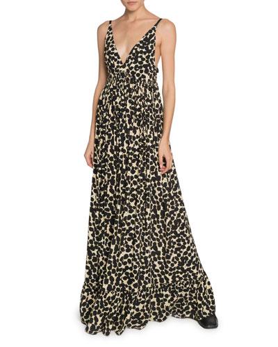 Printed Crepe de Chine Maxi Dress