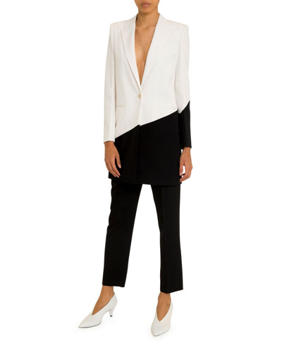 Asymmetric Bicolor Long Blazer