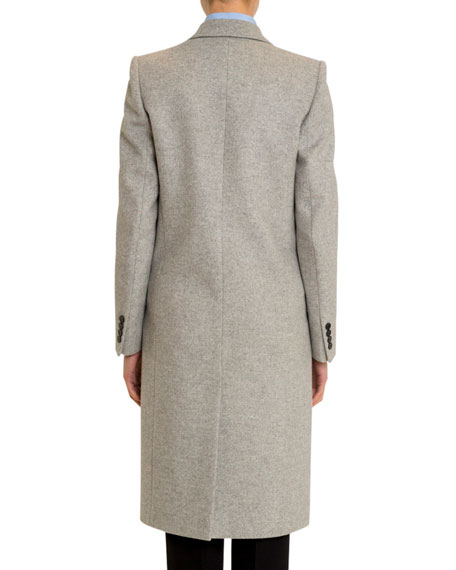 Long Brushed Wool-Cashmere Overcoat