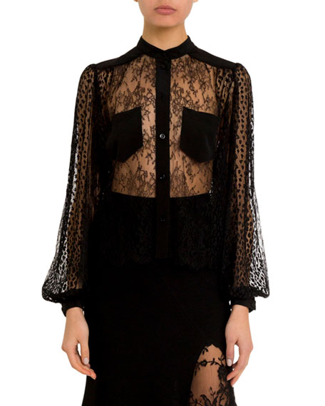 Sheer Lace Button-Front Blouse