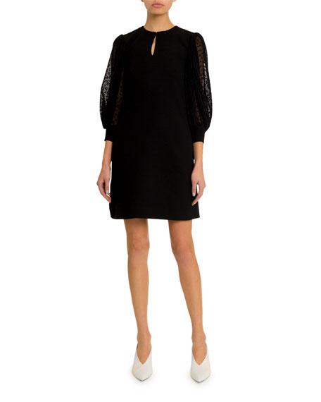 Givenchy Lace-Sleeve Keyhole Dress