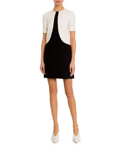 Short-Sleeve Bicolor Shift Dress