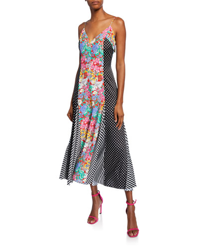 Aquazzura x Racil Sleeveless Floral & Polka-Dot Midi Dress