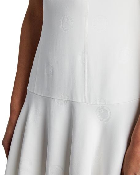 Short-Sleeve Metallic-Stripe Drop-Waist Dress