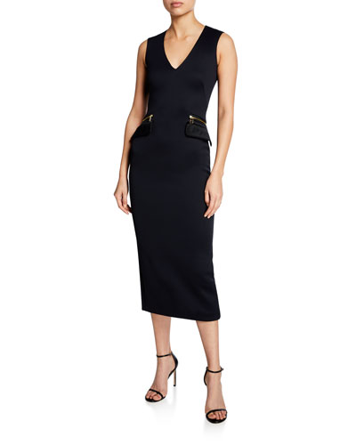 293d0ee1bdc2c Sleeveless V-Neck Zip-Pocket Midi Dress Quick Look. Brandon Maxwell
